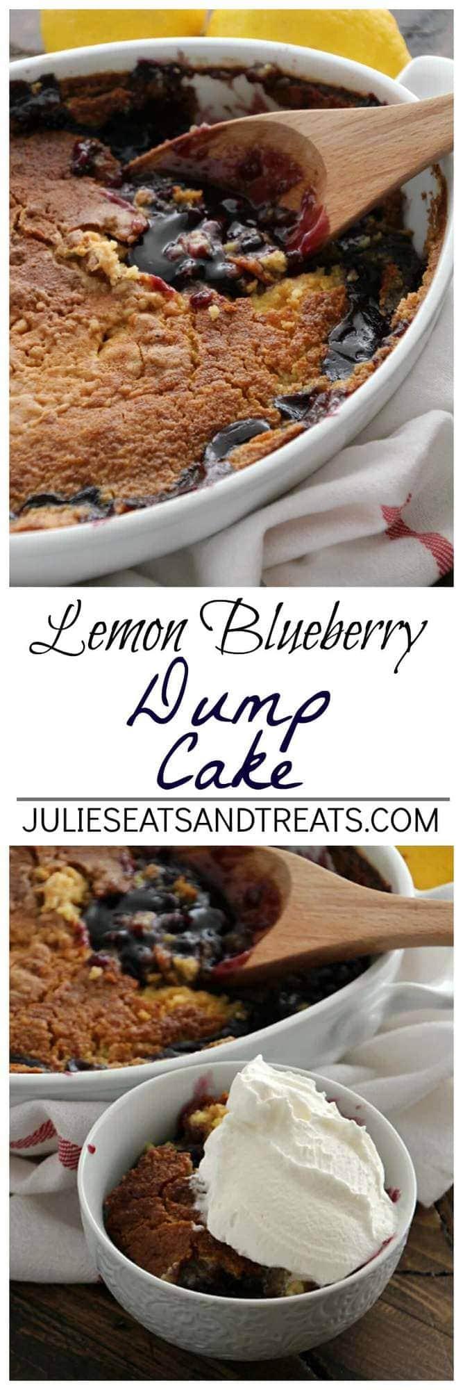 Lemon Dump Cake With Blueberries