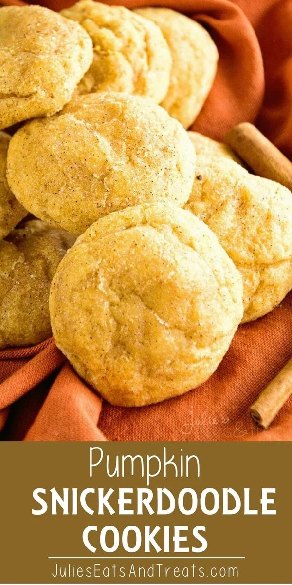 Pumpkin Snickerdoodle Cookies Recipe ~ Soft, Delicious Pumpkin Cookies Rolled in Cinnamon Sugar! The perfect fall treat! #pumpkin #cookies Visit julieseatsandtreats.com for more easy, family, friendly recipes and stress-free dinner time! @julieseats