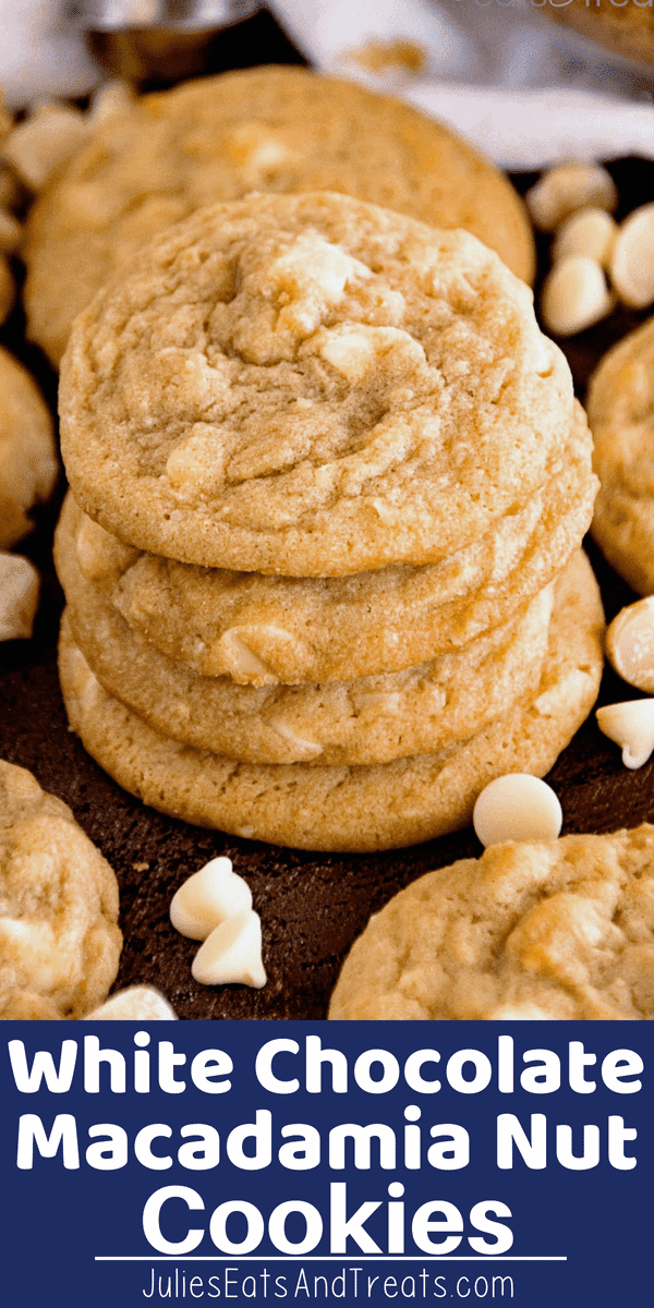 These White Chocolate Macadamia Nut Cookies  are soft, chewy and delicious! Loaded with white chocolate chips and macadamia nuts this White Chocolate Macadamia Nut Cookie recipe will be your favorite, plus they require no chill time! #cookie #cookies #whitechocolate #macadamianut #julieseatsandtreast #recipe #recipes #recipeidea
