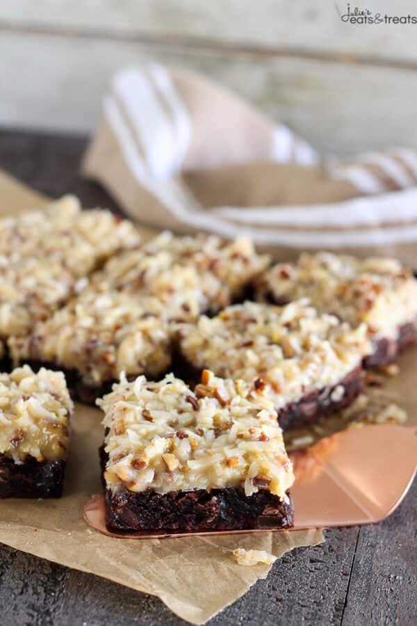 German Chocolate Brownies on spatula
