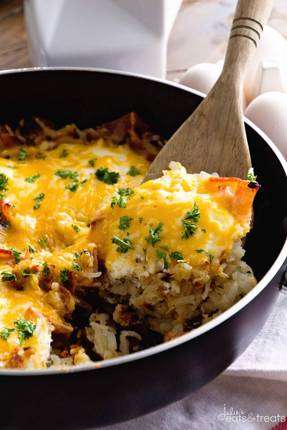 Cheesy Bacon Egg Hash Brown Skillet GIVEAWAY Julies