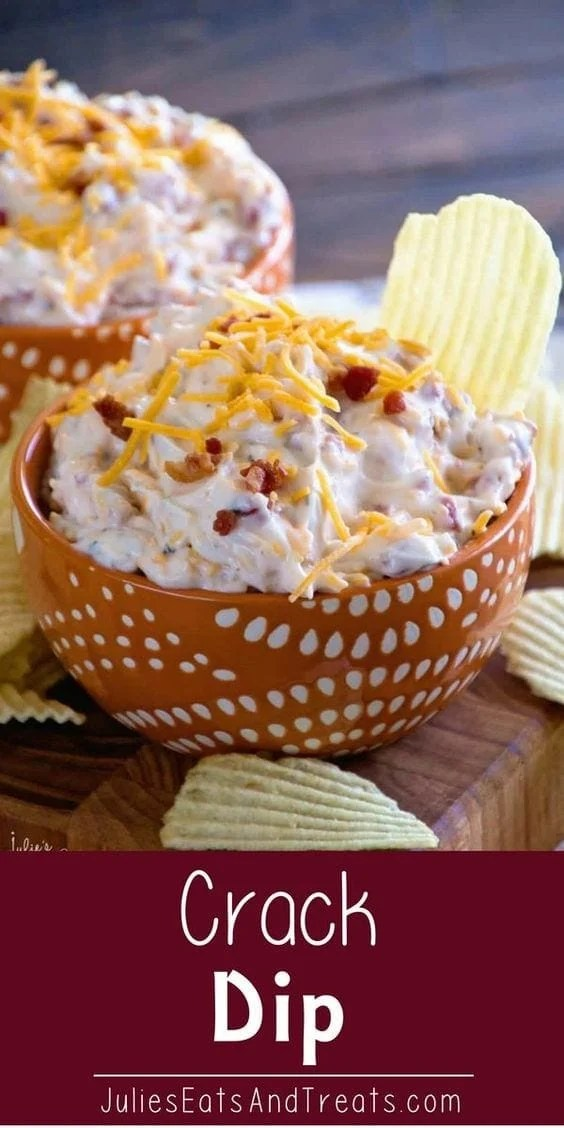 Crack Dip ~ Super Simple Chip Dip Loaded with Cheese, Bacon, Ranch and Sour Cream! #bacon #dip #easyrecipe Visit julieseatsandtreats.com for more easy, family, friendly recipes and stress-free dinner time!  @julieseats