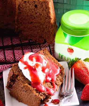 Chocolate Angel Food Cake with Strawberry Sauce + VIDEO