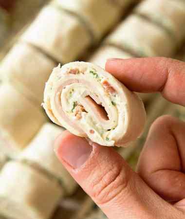 Cheesy Turkey Bacon Ranch Pinwheels + VIDEO