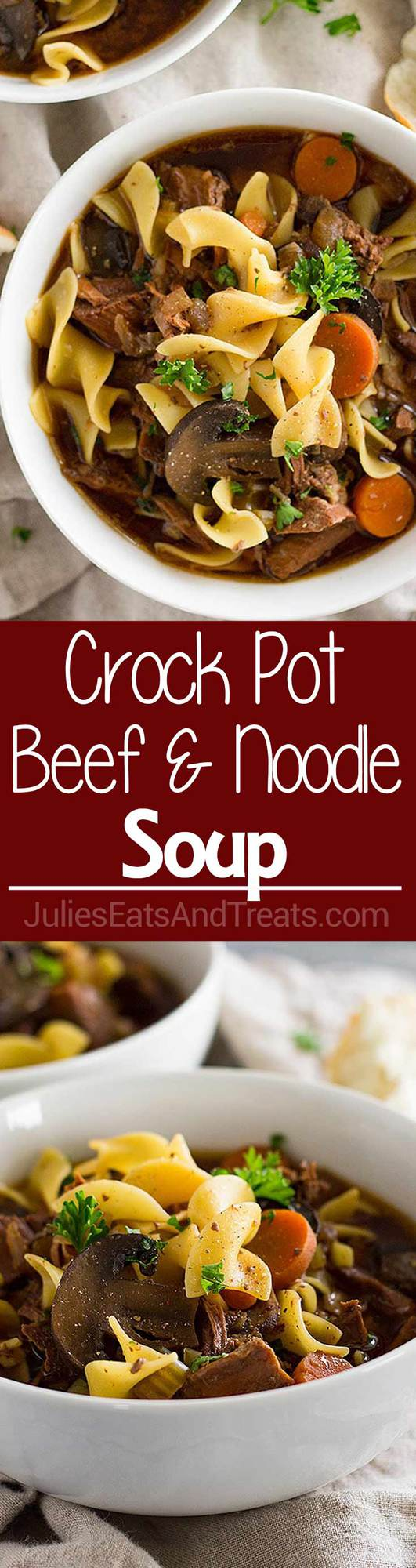 Crock Pot Beef and Noodle Soup ~ Easy Slow Cooker Beef Stew with the Addition of Pasta! Loaded with Stew Meat, Carrots, Celery, Mushrooms and Egg Noodles!