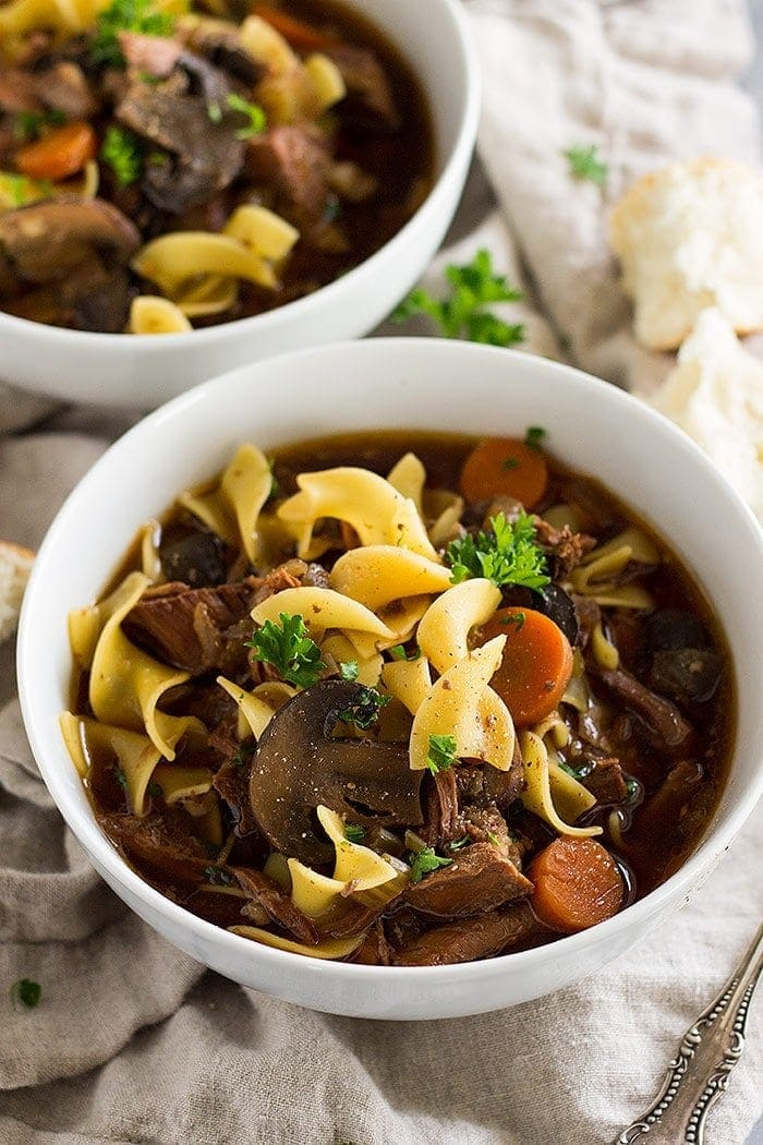 Slow Cooker Beef Stew with noodles