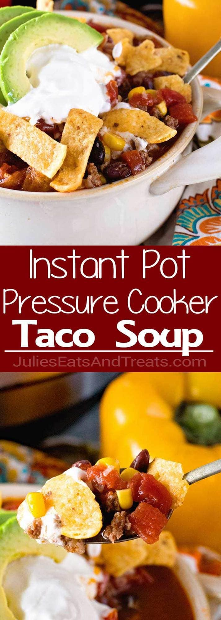 {Instant Pot} Pressure Cooker Beef Taco Soup ~ Quick, Easy Homemade Taco Soup with Hamburger! Warm Up with a Big Bowl of this Taco Soup Made in Your Pressure Cooker!