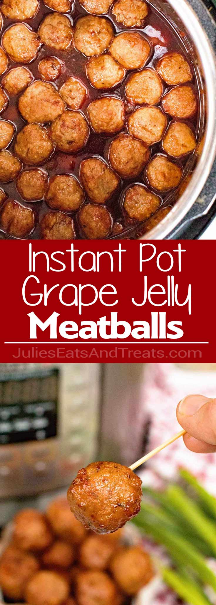 Pressure Cooker {Instant Pot} Grape Jelly Meatballs – These easy to make, traditional, meatballs with grape jelly and chili sauce are perfect for parties and game day gatherings! They make a great family friendly dinner served over rice too! Quick, Easy And Delicious Using Your Instant Pot or Pressure Cooker!