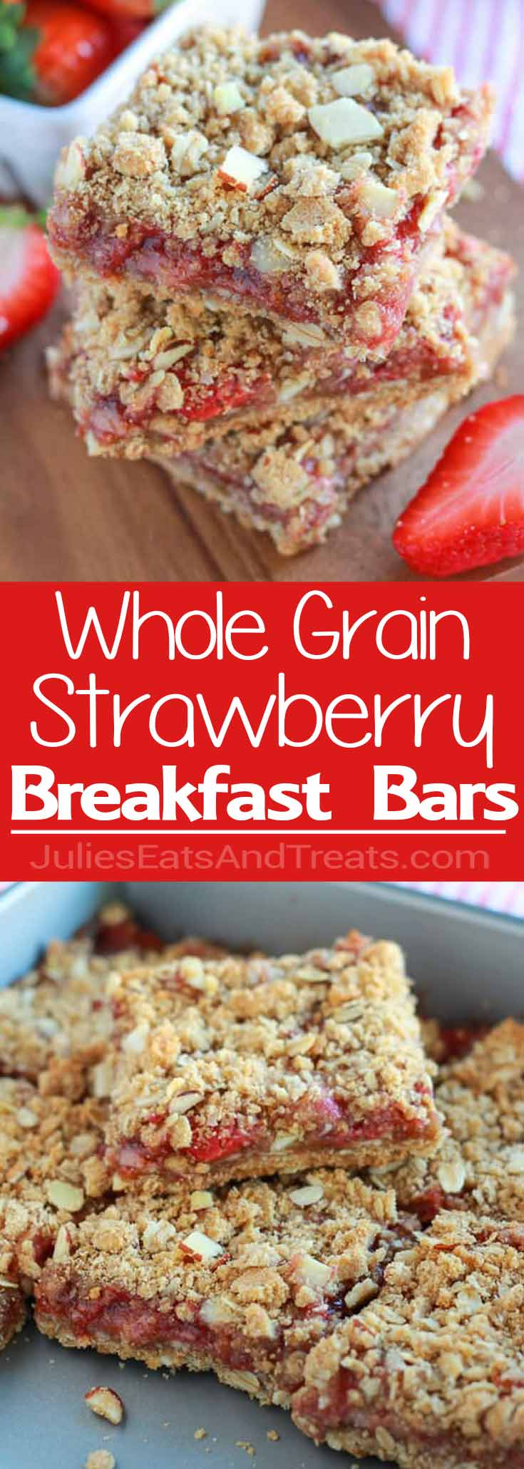 Whole Grain Strawberry Breakfast Bars - A simple recipe for whole grain breakfast bars made with oats and almonds, and filled with strawberries.