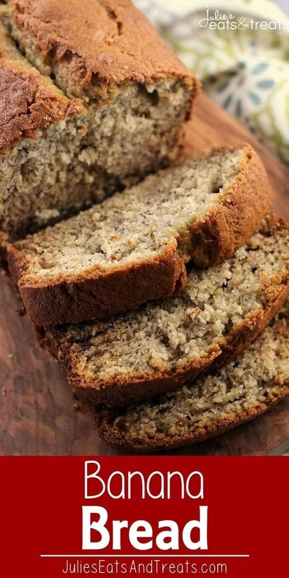 Banana Bread ~ Easy, Traditional Banana Bread Stuffed with Bananas and Deliciously Perfect!  #banana #bread Visit julieseatsandtreats.com for more easy, family, friendly recipes and stress-free dinner time! @julieseats