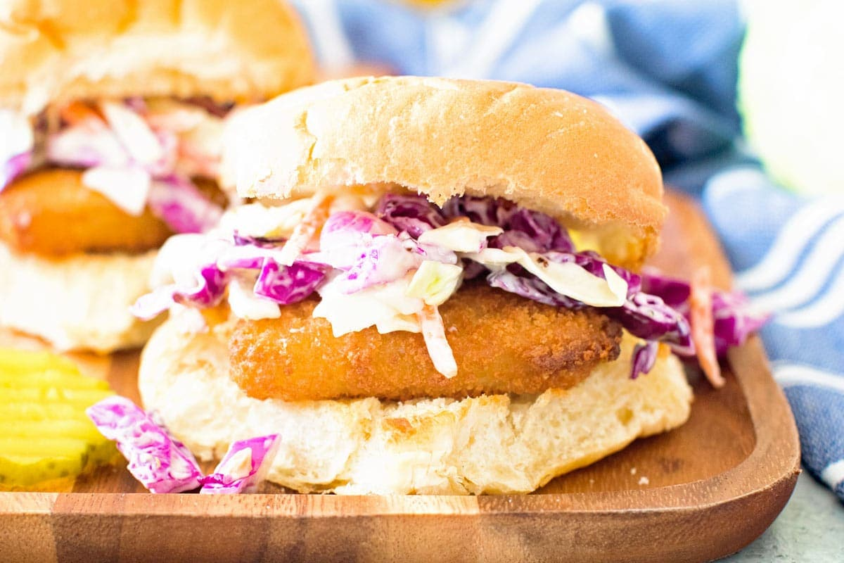Fish Sandwich with Garlic Aioli Coleslaw Landscape