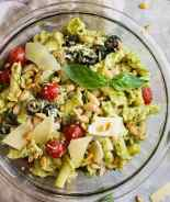 Top down view of Italian Pesto Pasta Salad.