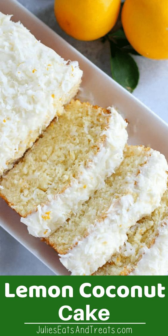 Moist, Flavorful Homemade Lemon Coconut Cake! Tender, Fluffy Lemon Loaf Cake Topped with Cream Cheese Frosting, Coconut and Lemon Zest! #cake #lemon #homemade Visit julieseatsandtreats.com for more easy, family, friendly recipes and stress-free dinner time! @julieseats