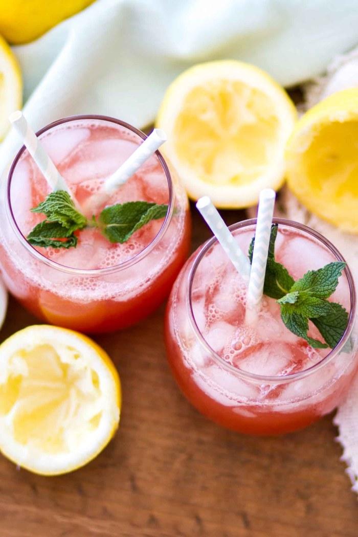 homemade summer drink in glass overhead