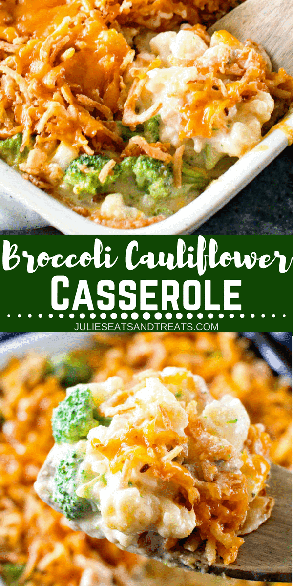 Looking for an easy side dish? This Cheesy Broccoli Cauliflower Casserole is the perfect side dish for the weeknight! Even your kids will love this Broccoli and Cauliflower Casserole topped with cheese. Plus, it's perfect for a holiday side dish too! #sidedish #side #broccoli #cauliflower #holiday #holidayside #holidayrecipe #cheese #cheesy #casserole #julieseatsandtreats #comfortfood