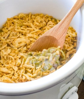 slow cooker green bean casserole in crock pot