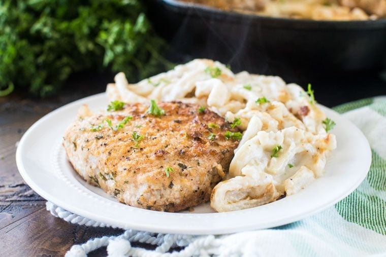 Baked Pork Chops on plate with noodles