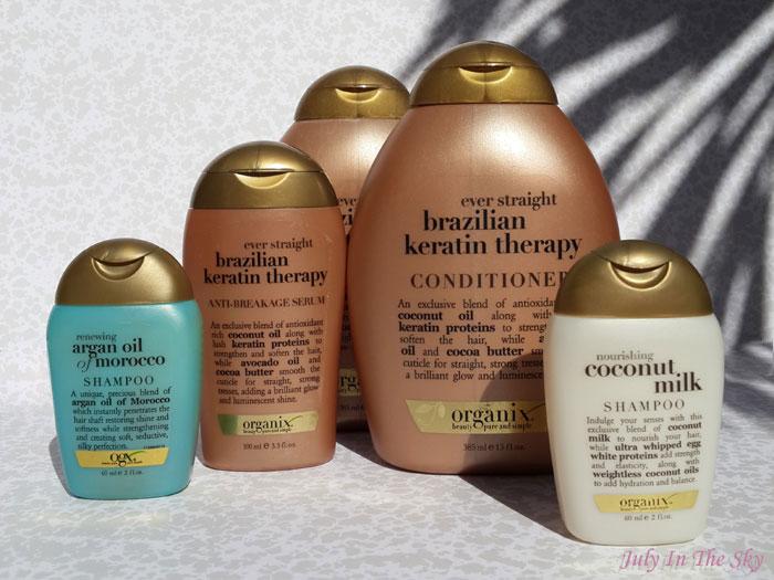 blog beauté organix shampooing conditionneur serum brazilian keratin therapy coconut milk argan oil of morocco avis