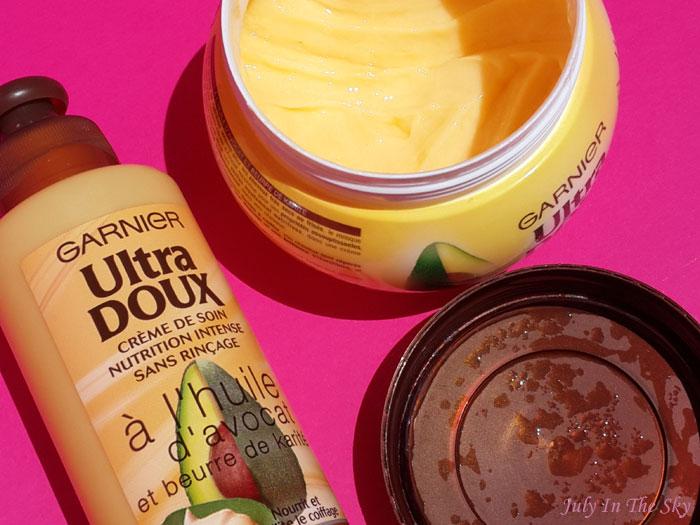 blog beauté shampoing ultra doux garnier cheveux secs frisés beurre de karité huile d'avocat nutrition intense masque crème de soin avis