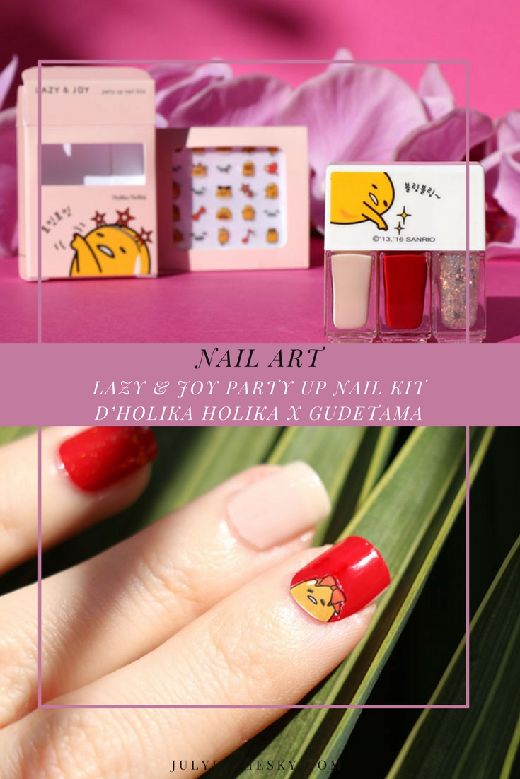 blog beauté Lazy & Joy Party Up Nail Kit Holika Holika x Gudetama