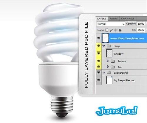 Fully Layered PSD Economic Lamp2 - Lamparas Bajo Consumo para Photoshop