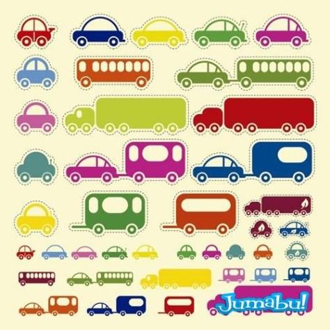 coloridos-niños-stickers-transporte