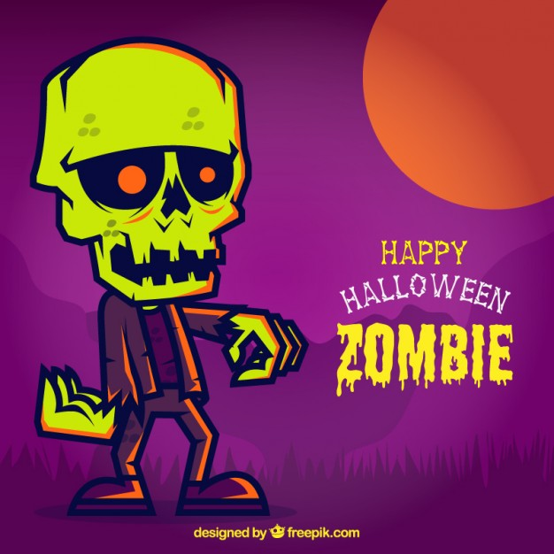 colorful halloween card with a zombie 23 2147521155 - Zombies en Vectores para Halloween 2015