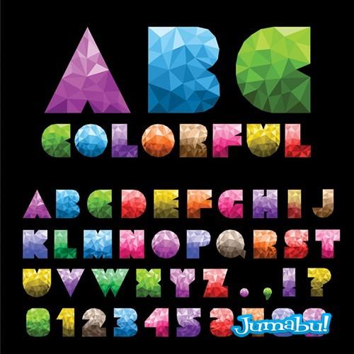 efectodiamante letras fuentes tipografioas - Letras Coloridas en Vectores con Efecto Diamante