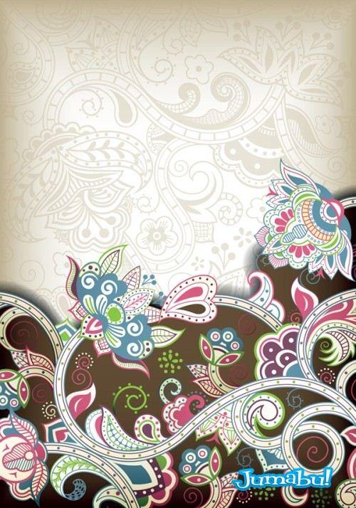 floral ornamentos backgrounds - Fondos con Estilos Ornamentales en Vectores