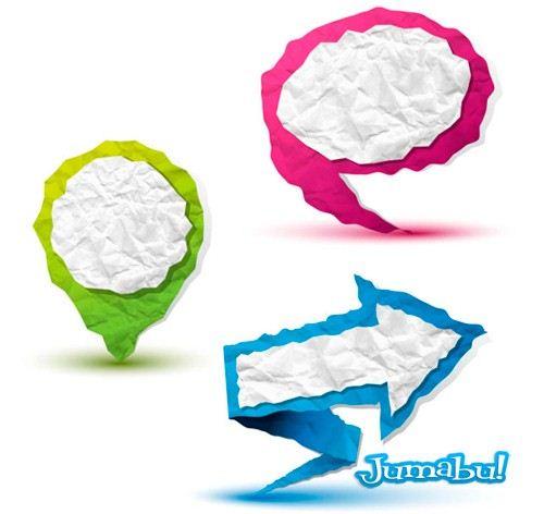 globos-iconos-flechas-papel-arrugado-papper