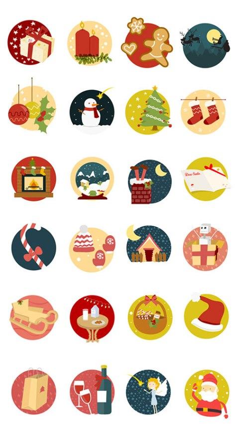 iconos-navidenos-vectores