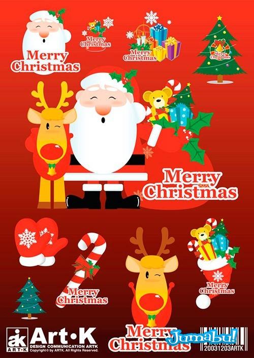 navidad reno santa vectorizados - Vectores Navideños 2013