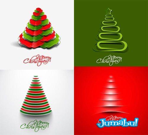 Pinos navideos vectorizados efecto papel cortado jumabu - Fotos arboles navidenos ...