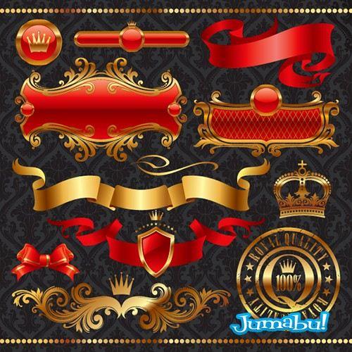 ribbons banderines banderas doradas - Escudos, Etiquetas, Ribbons Dorados en Vectores