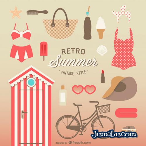 verano-vintage-vectores-gratis