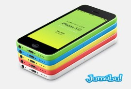 001 iphone 5C mobile celular multicolors isometric view 3d mock up psd - iPhone 5C en 3D para Presentar tus Aplicaciones Móviles