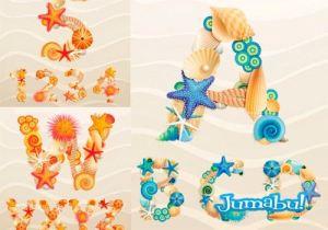 alfabeto vectores letras fuentes vacaciones mar coral - Alfabeto en Vectores compuesto por Caracoles, Corales y Estrellas de Mar