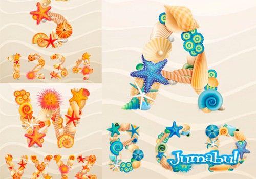 alfabeto-vectores-letras-fuentes-vacaciones-mar-coral