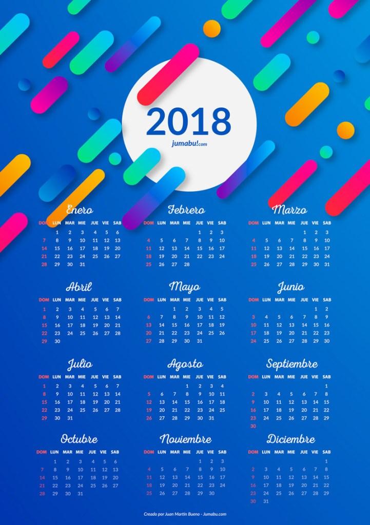 almanaque 2018 gratis 721x1024 - Almanaques 2018 para imprimir gratis