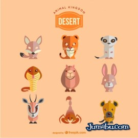 animales del desierto - Vectores de Animales del Desierto con Estilo PLano