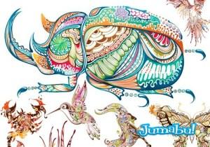 animales ornamentales vectores  - Dibujos de Animales en Vectores Ornamentales