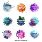 badges acuarelas contenedor - Badges o Contenedores con estilos de Acuarela