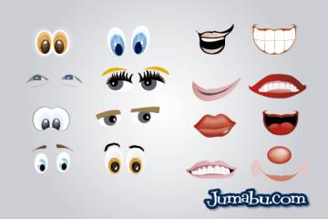 bocas ojos sonrisas vectorizadas - Partes de Caras en Vectores