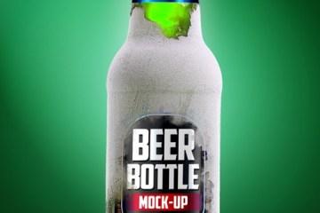 botella cerveza mock up verde - Mock Up de Botella de Cerveza Verde