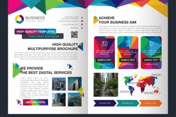 brochure profesional mockup - Mockup de un brochure institucional de diseño en vectores