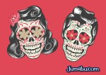 calaveritas halloween mexicanas vectores rock - Calaveras Mexicanas Rockeras en Vectores