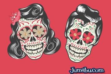 calaveritas halloween mexicanas vectores rock - Calaveras Mexicanas Rockeras en Vectores