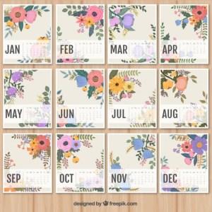 calendario 2016 para imprimir con flores - Imprime tu calendario 2016 gratis