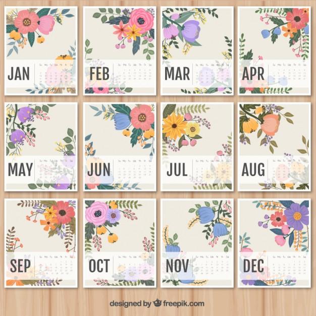 calendario-2016-para-imprimir-con-flores