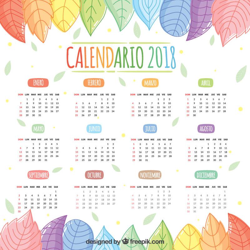 Calendario 2018 pasado al español gratis